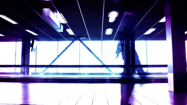People silhouettes at the airport building. video