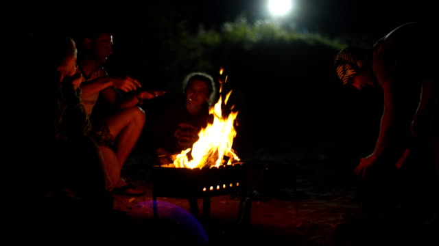 People sit at night round a bright bonfire video