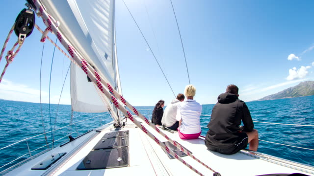 WS People Sitting On Deck Of Sailboat video