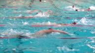 People swimming in indoor swimming pool video