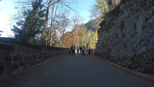 People Tourism walking up and down on Neuschwanstein castle. video
