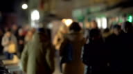 People traffic in the evening street video