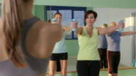 People training in fitness club, gym and sport activity video