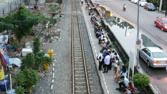 People waiting for train in Bangkok video