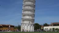 People walk around Leaning Tower, Pisa, Italy video