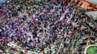 people walk in shopping Mall,tilt shift time lapse video