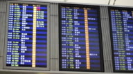 People Walk Past A Flight Departure Board At Airport video