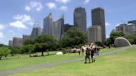 People walking around the Botanic gardens in Sydney video