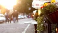 People walking by the old Krakow streets: unfocused footage video