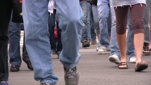 People walking. Crowd. Street. Lower view. video