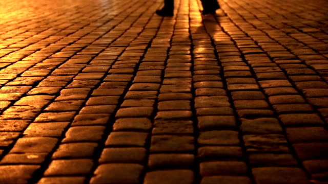 People walking in a cobblestone street at night video