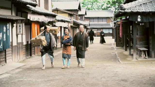 DS People walking in ancient Japan village video