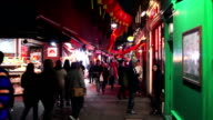 People Walking In London Chinatown Newport Court Night Shot video