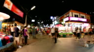 People walking in night market video