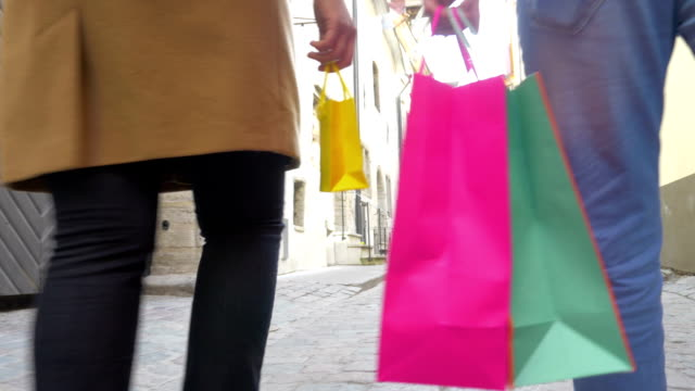 People Walking in Tallinn with Shopping Bags video