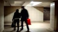 People walking in underpass. video