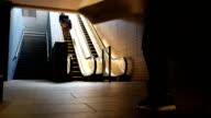 People Walking On Escalator video