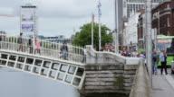 People Walking On Ha'penny Bridge In Dublin video