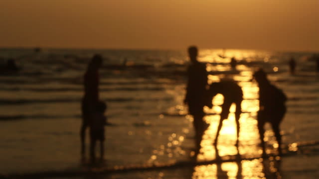 People walking on the beach at sunset. video