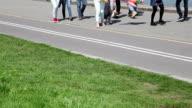 People walking on the embankment video