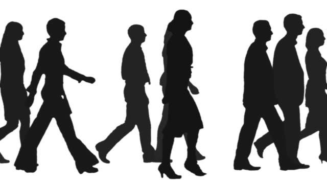 People walking one side video