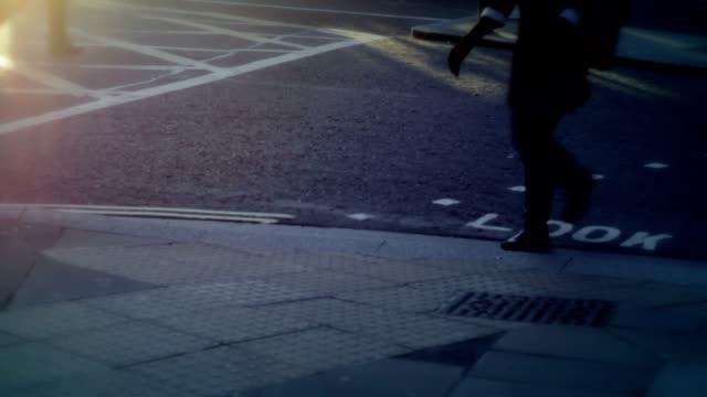 People walking, pedestrian crossing. HD, NTSC, PAL video