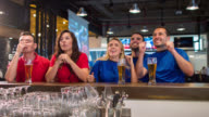 People watching a football game at a sports bar video
