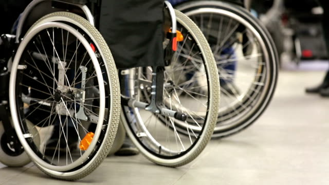 People with disabilities in wheelchairs. video