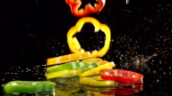 Peppers Fall in Slow Motion Food video
