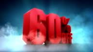 Percentage animation. 50%, 60%, 70%, 80%, 90% Off video