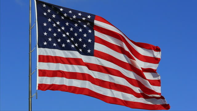 Perfect American Flag Waving and Flowing on Breeze, Close-Up video