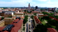 Perfect Center Angle UT tower at Austin Texas Capital Cities University of Texas in 4K video