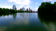 Perfect Mirror Reflection Lou Neff Point Austin Texas Aerial Drone Over Town Lake Close to the water slow video