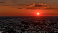 Perfect Skyline aerial hyper lapse of Berlin with beautiful sunset in summer at evening time. video
