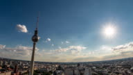 Perfect Skyline aerial hyperlapse zoom of Berlin with beautiful sun and some clouds during summer video