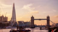 Perfect Sunset with London Tower Bridge, Shard video