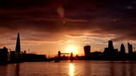Perfect Sunset with London Tower Bridge, Shard, Walkie Talkie video