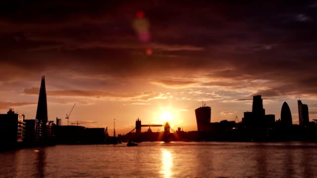 Perfect Sunset with London Tower Bridge, Shard, Walkie Talkie video
