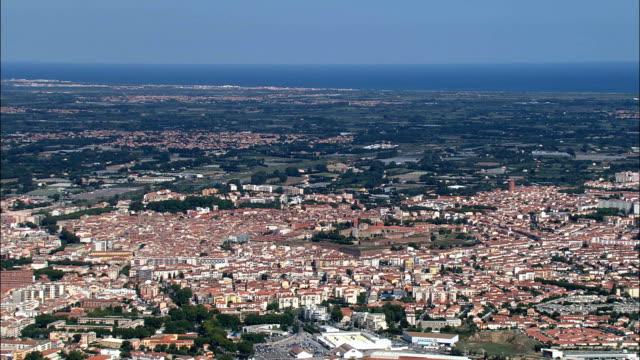Perpignan  - Aerial View - Languedoc-Roussillon, Pyrénées-Orientales, Arrondissement de Perpignan, France video