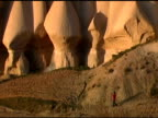 Person walking in Gorme Cappadocia Turkey Landscape video