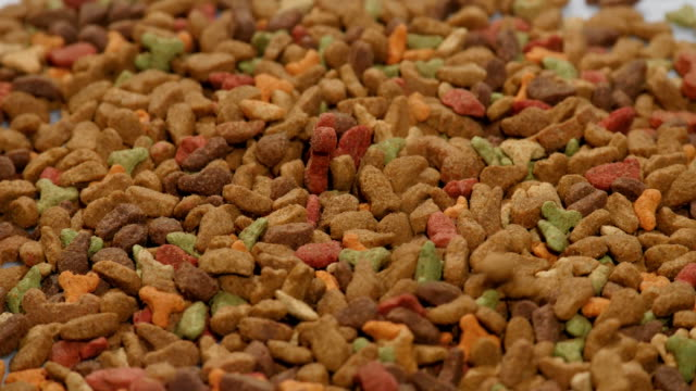 Pet food background. Animal feed. Rotating video