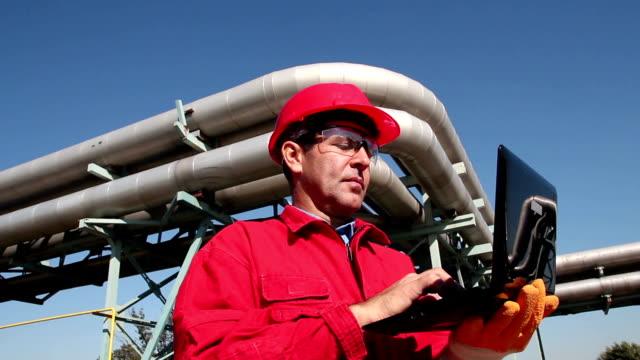 Petrochemical Engineer Using Laptop video