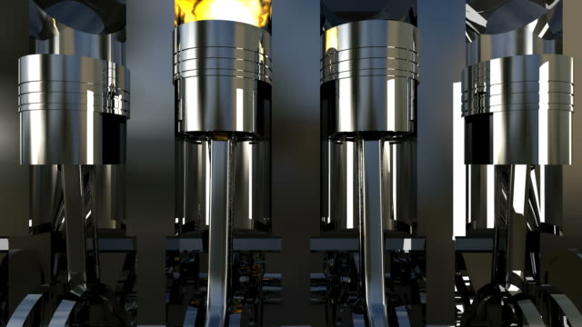 3D petrol or diesel engine work inside view. hd1080 video