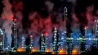 Petroleum Refinery Night TIME LAPSE video