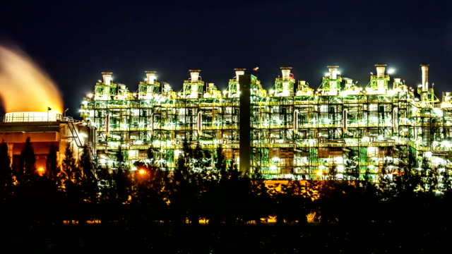 Petroleum Refinery Smoke Day With Blue Sky , Timelapse. video