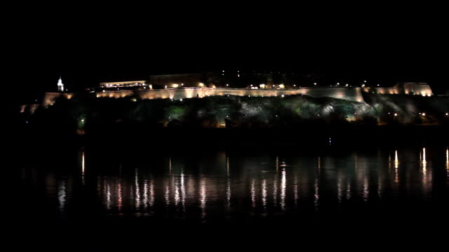 Petrovaradin Fortress Nightshot Novi Sad Serbia video