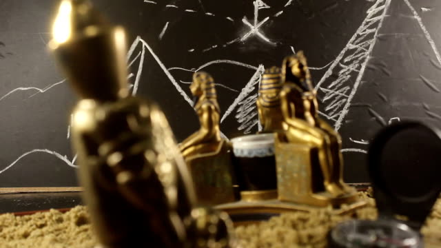 Pharaoh Statues on a sand video. video