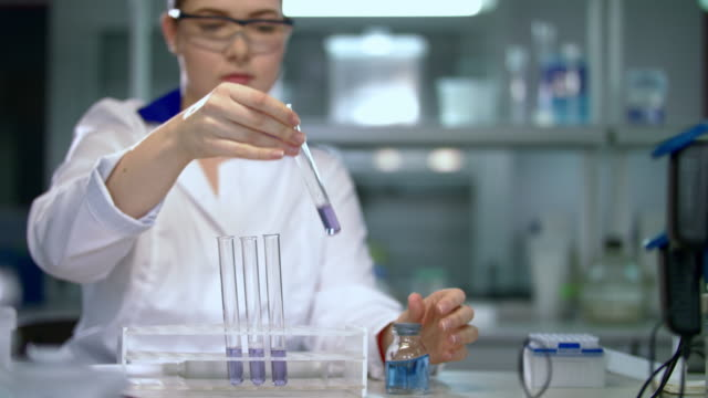 Pharmacist working with liquid in test tube. Medical research in chemical lab video