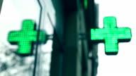 Pharmacy store, Green neon video