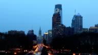 Philadelphia City center, day to night timelapse video